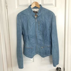 Danier | Light Blue Leather Jacket | M